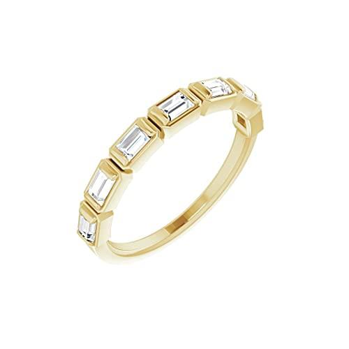 Anillo de oro amarillo de 14 quilates con diamante pulido de 3 x 2 mm, 0,5 quilates, tamaño N 1/2, joyería regalo para mujer