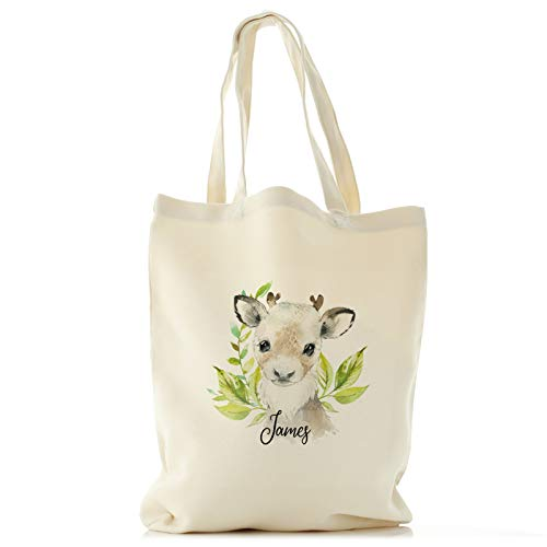 Personalised Tote Bag Customised with Initial/Name/Text, Reindeer Green Leaf Design, Gift Bag, Shopping Bag, Size: Tall (33cm x 40cm)