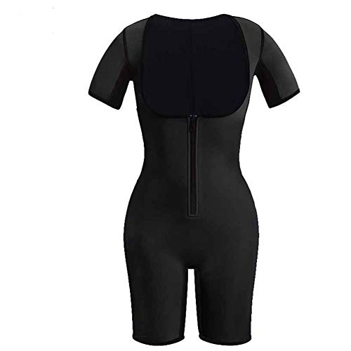 HXZB Neopreno Deportivo para Mujer De Cuerpo Completo Shapewear Quick Perspiration Zipper Adelgaza Traje De Sauna,Black,M