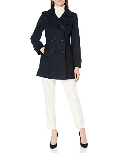 Anne Klein Women's Classic Double-Breasted Coat, Navy, MED