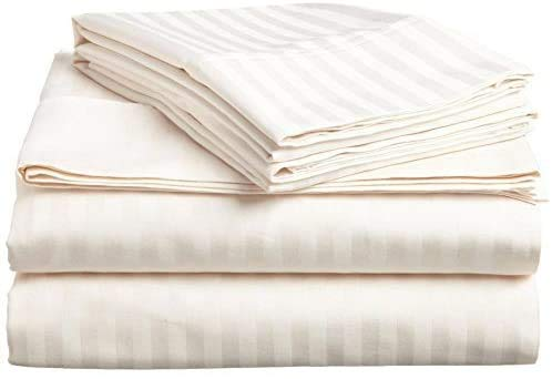 Tula Linen Juego de sábanas de 4 Piezas, 1000 Hilos Bolsillo de 44 cm, 100% algodón Egipcio Rayas Color (UK Super King 180 x 200 CM, Marfil)
