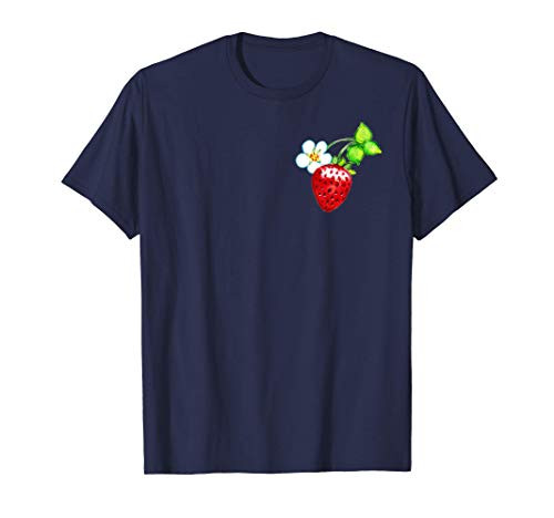 Retro Strawberries Pattern Berry Pocket | Vintage Strawberry T-Shirt