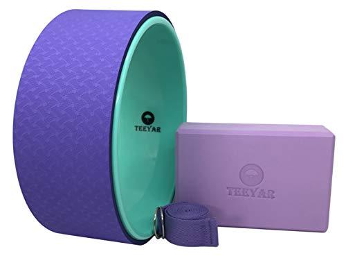 ヨガホイール ヨガブロック【高密度210g】 ヨガストラップ キット(Yoga Wheel Yoga Block Kit) (バイオレット)