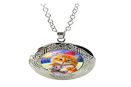 Art Charm - Collar con medallón de cristal para niños