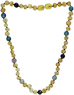 Baltic Amber Necklace For BIG Kids- 16 inch- Immune System Boost- with Certified Amethyst