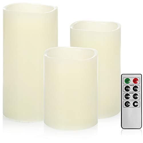 com-four® 3X Candela a LED in Diverse Dimensioni - Candele a LED con Funzione Timer - Candele in Vera Cera con Telecomando e Fiamma tremolante (Interno)