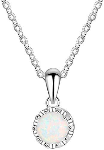 Colgante de ópalo , collar de plata 925 para mujer, joyería de moda con forma redonda de ópalo blanco, regalos de cumpleaños y boda para novia amante