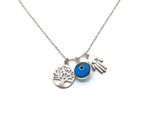 MYSTIC JEWELS - Collar Plata de Ley 925 - Tres simbolos, Mano de Fatim
