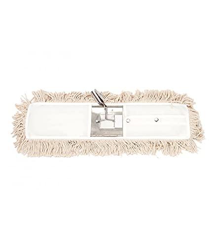 Mopa plana industrial de algodón 15x75 cm con bastidor metálico. Especial para limpieza de suelos profesional de pequeñas y grandes superficies