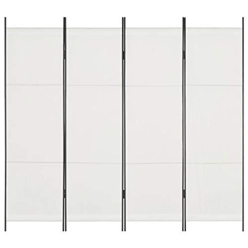 vidaXL Cloison de Séparation 4 Panneaux Séparateur de Pièce Diviseur Pliable Cloison de Pièce Paravent Brise-Vue Chambre à Coucher Intérieur Blanc