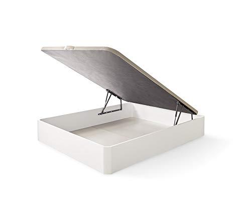 ECCOX - Canapé Estela Abatible de Gran Capacidad de Almacenaje con Esquinas Redondeadas en Madera - Altura 35cm Cerrado - Base Tapizada 3D - Color Blanco (150x190 cm)