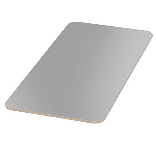 AUPROTEC Tischplatte 18mm grau 1000 mm x 600 mm rechteckige Multiplexplatte melaminbeschichtet von 40cm-200cm auswählbar Ecken Radius 100mm Birken-Sperrholzplatten Auswahl: 100x60 cm