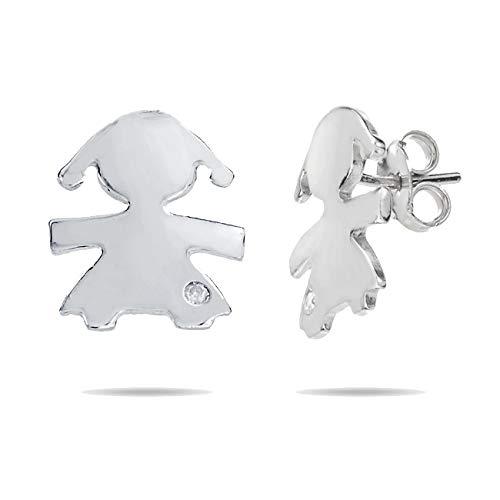 Inscintille Sweet child Orecchini in argento a forma di bimba con punto luce