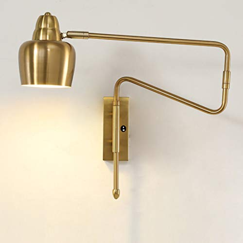 LMAMZ Lámpara de Pared Ajustable Brazo Largo con Pantalla de Metal Redonda, Aplique Industrial Retro Dorado con 7W E27 Fuente de Luz, Luz de Cabecera Dormitorio,With switch