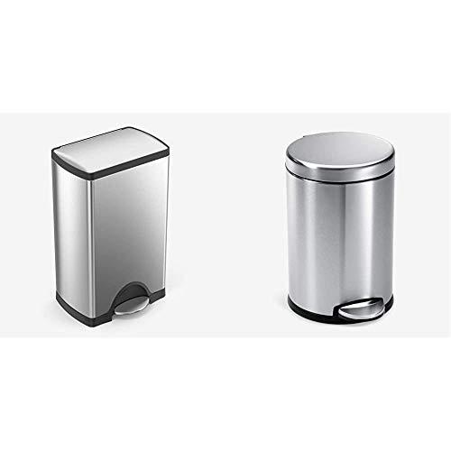 simplehuman 38 Liter / 10 Gallon Rectangular Kitchen Step Trash Can, Brushed Stainless Steel & Gallon Round Bathroom Step Trash Can, 4.5 Liter / 1.2 Gallon, Brushed Stainless Steel