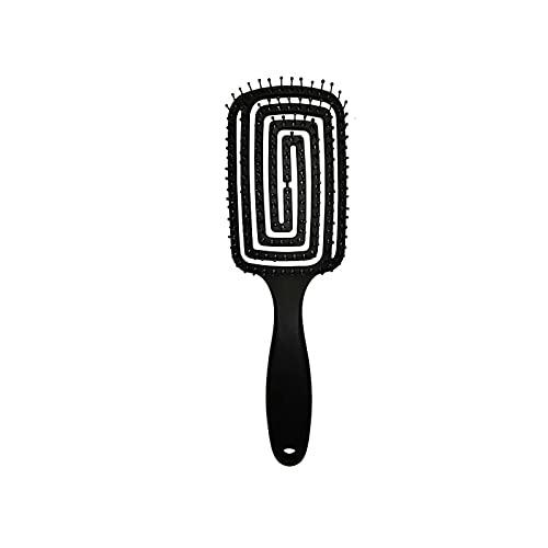 Cepillo de pelo de cerdas antianudadas para mujer, para el cuero cabelludo, cepillo de pelo enredado estilo infantil, cepillo para desenredar el cabello rizado natural y desenredar el pelo cepillo para el salón (Negro)