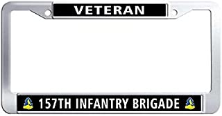 Toanovelty 157th Infantry Brigade Veteran License Plate Frame, Waterproof Car tag Frame, Stainless Steel Car License Plate Holder 6' x 12' in