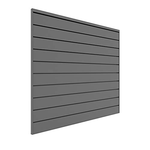 Proslat 88106 Heavy Duty PVC Slatwall Garage Organizer, 4-Feet by 4-Feet Section, Light Grey