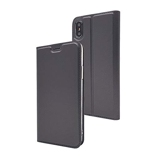 iPhone X Case, iPhone 10 Case, MTRONX Magnetic Closure Flip Slim PU Leather Soft TPU Wallet Case Cover Pouch Purse with Kickstand and Card Slot for Apple iPhone X iPhone 10 - Gray(MA-GY) -  MX-CS-MA-IPX-GY-CA
