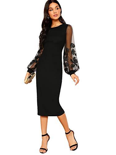 SOLY HUX Damen Kleid Netz Figurbetont Schlauch Kleider mit Stickerei Blumen Bishopärmeln Party Kleider Muster #1 Übergroß 1XL