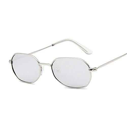 IRCATH Moda Polígono Oval Gafas de Sol Mujer Vintage Negro Pequeño Marco Damas Gafas de Sol Metal Colorful Ocean Mirror Adecuado para Conducir Playa Trekking-Plata Plateada