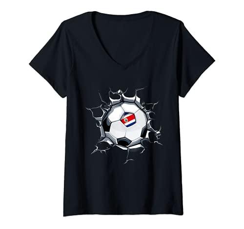 Mujer Costa Rica Fútbol en Pared Agrietada Bandera De Costa Rica Camiseta Cuello V