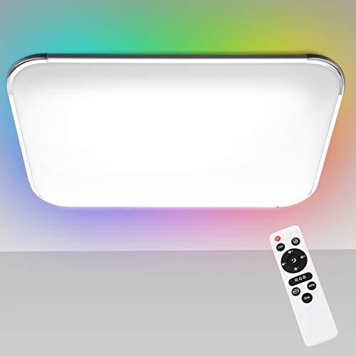 Hengda 48W LED Deckenleuchte Dimmbar, LED Deckenlampe RGB Farbwechsel, Warmweiss- Kaltweiss, 2700-6500K, Küchenlampe, Schlafzimmerlampe Wohnzimmerlampe, IP44 Wasserfest