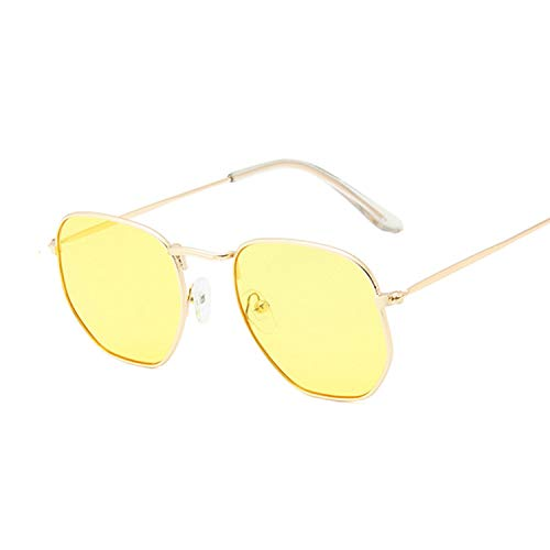 Hombres Retro Gafas De Sol Gafas De Sol Amarillas A La Moda Gafas De Sol Hexagonales para Hombre Marca Clásica Lente Plana Gafas De Sol Transparentes Hombre Mujer Retro Pequeño Marco De Me