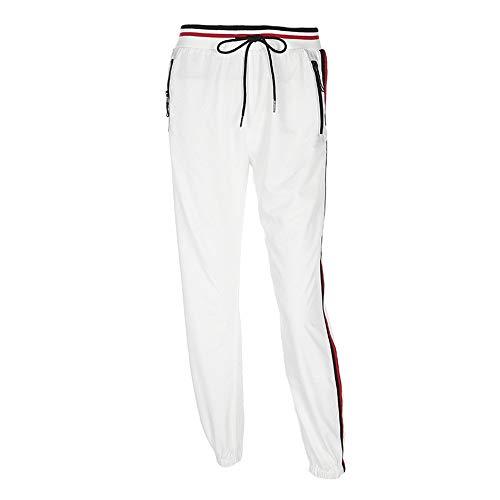 Damesbroek, dames zijstrepen ritszakken casual joggerbroek kleurblok rubberen band taille harem broek racen sport yoga broek wit ideaal voor alledaagse kleding of outdoor-oefeningen