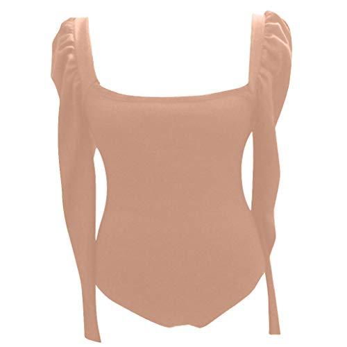 AmyGline Oberteil Damen Pullover Puff Ärmel Langarm U-Ausschnitt Strick Pulli Langarmshirt Jumpsuit Bluse Top