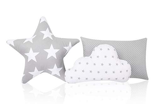 Amilian - Set di 3 cuscini decorativi di cui uno a forma di stella e uno a forma di nuvola, soffici