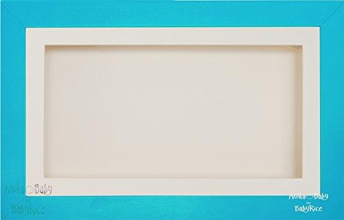 Anika-Baby écran 17,8 x 33 cm/33 x 17,8 cm Boîte en bois Cadre en bois de finition de garçon Bleu avec carte Passe-partout crème et carte de dos, façade en verre 36,8 x 21,6 cm