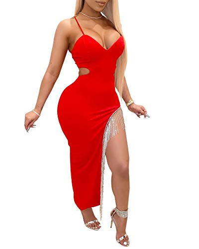 IyMoo Women Sexy Long Sleeve Rhinestone Evening Gown Fishtail Maxi Dress 2-Red S
