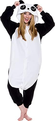 Silver Lilly Adult Pajamas - Plush One Piece Cosplay Animal Costume (Panda, M)