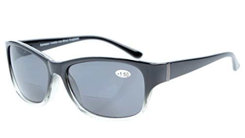 Eyekepper Bi-Focal Sonne Leser modische Bifokale Sonnenbrillen Schwarz Klar/Grau Linsen +2.00