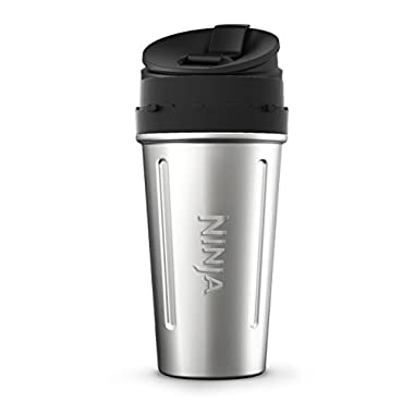 Nutri Ninja 24-Ounce Double-Wall Stainless Steel Cup with Sip & Seal Lid for Nutri Ninja Blenders (XSKDWSS24), Stainless Steel