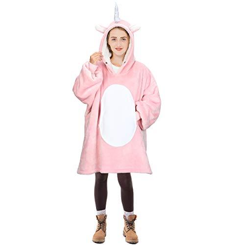 Oversized Blanket Sweatshirt, Super Soft Warm Cozy Wearable Sherpa Hoodie for Teens, Boys, Girls, Youth, Kids (7-15yr), One Size, Pink