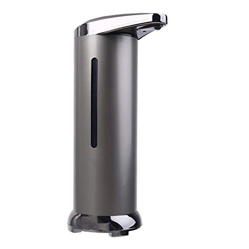 GROOMY Dispensador de jabón, dispensador de jabón sin Contacto con Sensor infrarrojo de inducción Inteligente de Acero Inoxidable, Gris