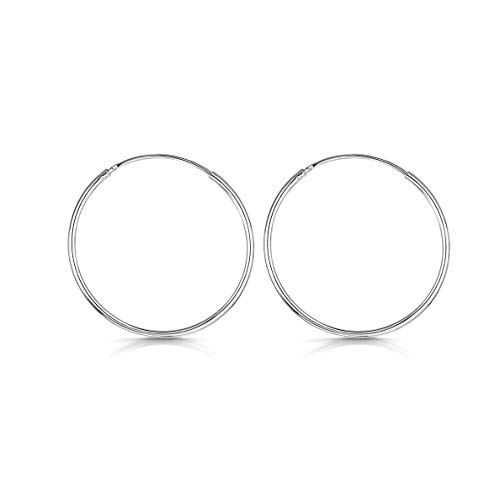 Amberta® 925 Plata De Ley Pendiente De Aro Fino Con Pendientes De Aro Sin Fin – Pendientes De Aro Tipo Criolla – Diámetro: 20 30 40 60 80 mm (30mm)