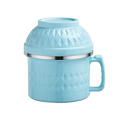 ZQWE Bowl Ciotola per Noodle, 1500ml Stainless Steel Contenitori per Alimenti, con Coperchio, Ciotola per Noodle con Supporto per Cellulare, Non Tossico, Resistente alle Cadute e Durevole (Blue)