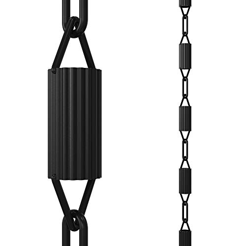 Rain Chains Direct Manicotti Rain Chain, 8.5 Feet Length, Aluminum, Black Powder Coated, Functional and Decorative Replacement for Gutter Downspouts