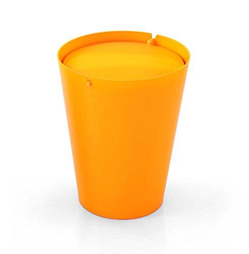 Outlook Design Italia Smarty Papierkorb mit Schwingdeckel, Kunststoff, Einfarbig, 24x 24x 30cm Modern 24x24x30 cm Arancio/Arancio