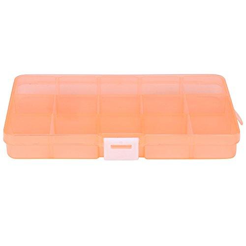 Sulifor Kunststoff Halskette Aufbewahrungsbox, Kunststoff 15 Slot einstellbar Schmuck Aufbewahrungsbox Fall Prozess Manager Perlen