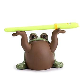 BTSKY Creative Pen Pencil Holder Organizer Ceramics Frog Statue Pen Holder Display Rack Funny Cute Decoration for Home Desk