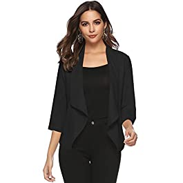 Abollria Women's Chiffon Casual 3/4 Long Sleeve Lightweight Waterfall Open Front Cardigan Blazer Coat