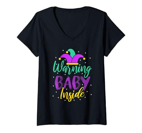 Mujer Advertencia bebé dentro de Mardi Gras Anuncio de embarazo revelar Camiseta Cuello V
