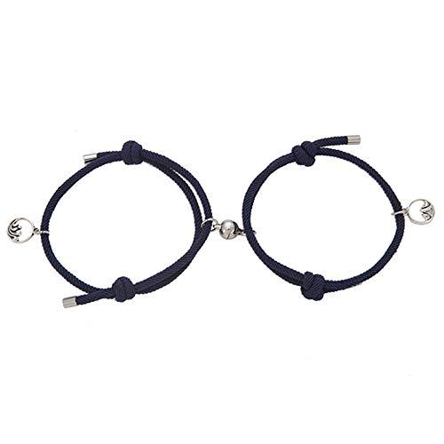 Canghai Pulsera ajustable para parejas, un par de brazaletes, para hombres y mujeres, joyería pequeña