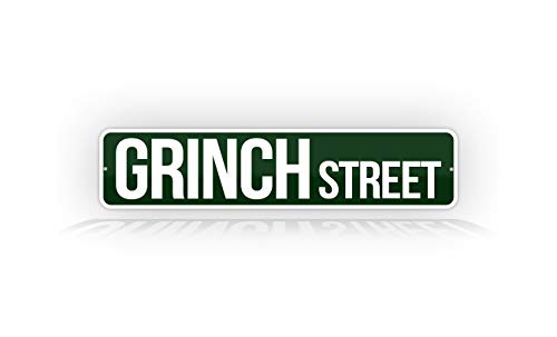 SignsAndTagsOnline Grinch Street Cute Christmas 4'x18' Decoration Sign The Grinch That Stole Christmas Holiday Wall Décor Sign