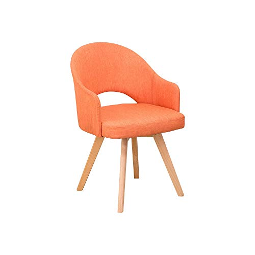 BGTRRYHY 2er-Sets, orangefarbener Loungesessel aus Baumwolle und Leinen Minimalismus Home Hotel Buchenholz Kaffee-Empfangsstühle