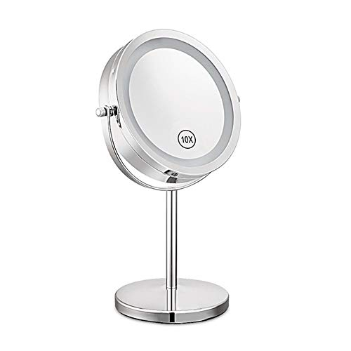 Yuan Ou Miroir Maquillage Magnification Circular Makeup Dual Sided Round Shape Rotating Cosmetic Stand Mirror 17.2 * 32.5 * 15cm 1